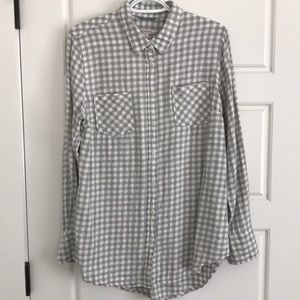 Merona Gray Gingham Oversized Button Down L